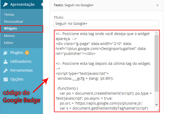 Código google badge num widget