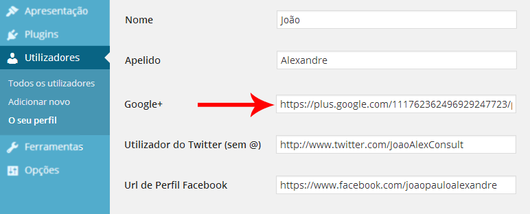 URL google+ no wordpress
